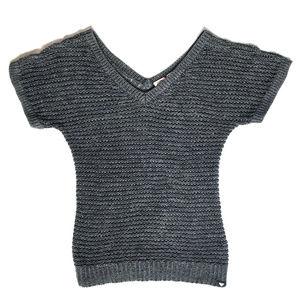 ROXY Short Sleeve Knit Oversized Sweater Top M